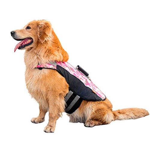 Hund Haustier Rettungsweste Schwimmweste - Hündchen Sicherheit Lebensretter Schwimmmantel Bademode Badeanzug Schwimmweste Jacke mit Verstellbarer Schnalle Blaues Grün Rosa -