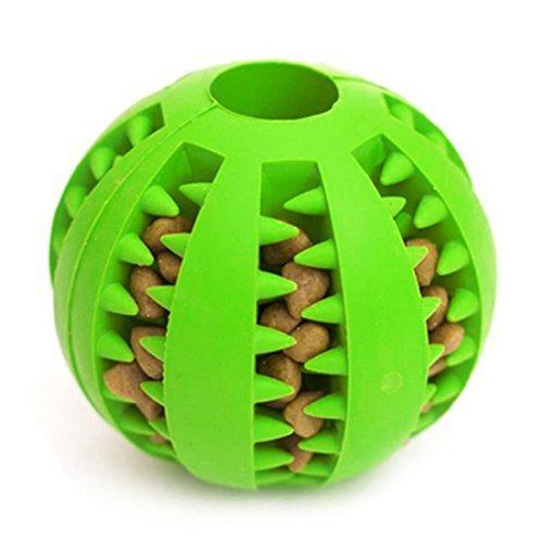 Idepet Hundespielzeug Ball, ungiftig Bite resistent Spielzeug Ball für Haustier Hunde Welpen Katze, Hundefutter Treat Feeder Zahn Reinigung Ball, Hund Haustier Chew Zahn Reinigung Ball Haustier Übung Spiel Ball IQ Training Ball (Grün)