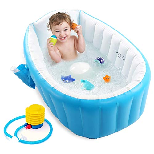 Baybee Sansa Baby Bathtub with Inflator Pump -Inflatable Baby Bath Tub for Kids/Toddler - Mini Air Swimming Pool Kid Infant Toddler Thick Foldable Shower Basin with Soft Cushion Central Seat (Blue)