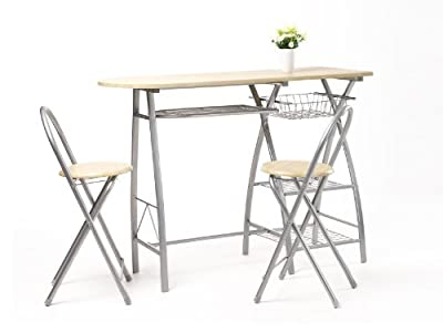 New Oxford Street Breakfast High Quality Bar Table And 2 Stools Chairs Seat Dining Set Kitchen Table Wood