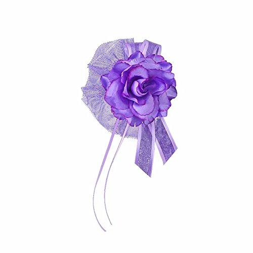 Blüte mit Tüll und Schleife für den Autotürgriff 4er Set Hochzeits - Auto - Deko (lila)