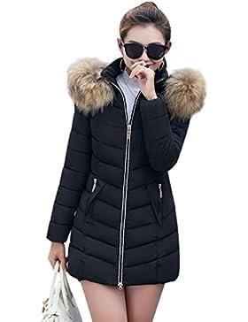 Sentao Slim Fit Abrigo Chaqueta Acolchado Parka de Mujer con Capucha de Pelaje Sintética para Invierno