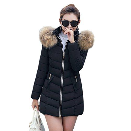 Sentao inverno donna lungo giacca slim fit inverno cappotto giubbino imbottito con sintetico pelliccia cappuccio