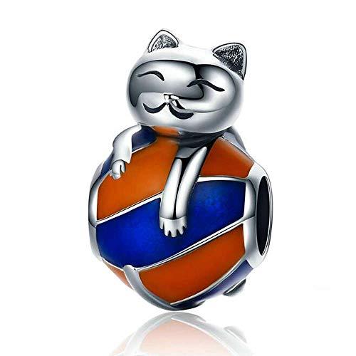 Anlw donne pandora bead charms naughty kitten 925 sterling silver per gli amanti degli animali accessori regali di natale, senza nichel