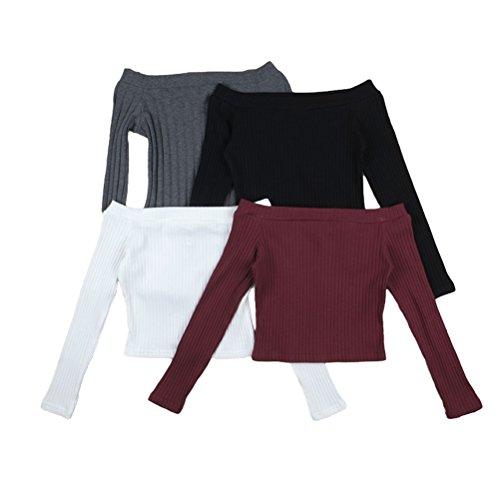 Ghope Damen Schulterfrei Trägerlos Langarm T-shirt Top Elastisch Basic  Einfarbig Bluse Oberteil Schwarz