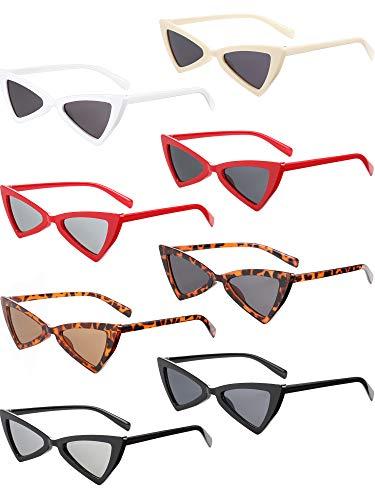 8 Stücke Katzenauge Sonnenbrille Vintage Dreieck Sonnenbrille Retro Katzenauge Sonnenbrille für Frauen Männer