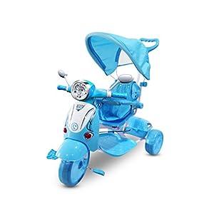 Triciclo a spinta AZZURRO con pedali LT854 per bambini SPECIAL con cappottina. MEDIA WAVE store ®