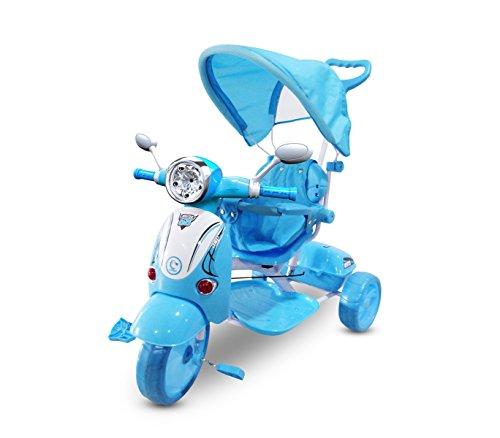Triciclo a spinta AZZURRO con pedali LT854 per bambini SPECIAL con cappottina. MEDIA WAVE store
