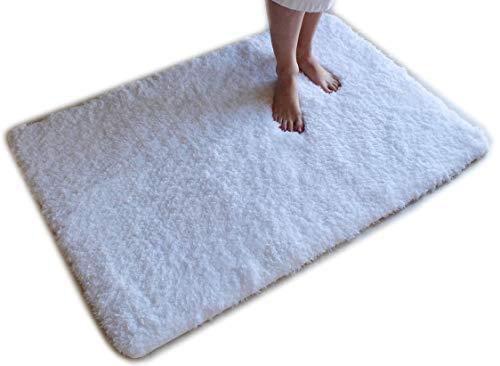 ch Teppich Shag Rutschfeste Ultra Plüsch Mikrofaser Hoch Wasser saugfähig Langlebig und Waschbar für Badezimmer 32 inch X 47 inch weiß ()