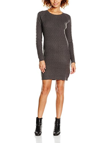 VERO MODA Damen Kleid Vmposh Ls Dress Noos, Grau (Dark Grey Melange Dark Grey Melange), 36 (Herstellergröße: S)