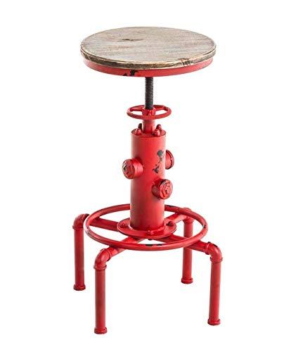topower Vintage Antik Industrial Metall Bar Hocker Lumos, Sitz, Hydrant Design Holz, Höhe verstellbar 59-75cm rot -