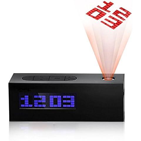 GAOHL Tiempo temperatura LED proyección reloj de alarma calendario reloj radio , black