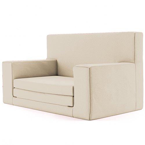 2 in 1 Kindersofa in Sandfarben mit Waschbarem Überzug -Weich & Sicher Ausklapp Spielzeug Sessel Möbel Couch mit Bettfunktion Schlaf Matratze zum Auffalten für Kinder von 1-4