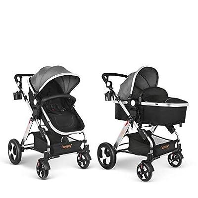 besrey Cochecito de Bebe Carrito 2 en 1 Silla de paseo para bebe 0-36 meses Gran Rueda Con Cinturón de seguridad, 15 kg máximo