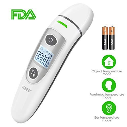 Ohrthermometer Stirnthermometer, THZY Infrarot Fieberthermometer Sofortiges Lesen Professionelle Medizinisches Thermometer Digital für Baby Kinder Erwachsenen, CE/FDA Zertifiziert.
