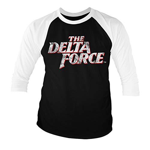 Delta Force T-shirts (Offizielles Lizenzprodukt The Delta Force Washed Logo Baseball Männer Viertel T-Shirt (Schwarz-Weiß), XX-Large)