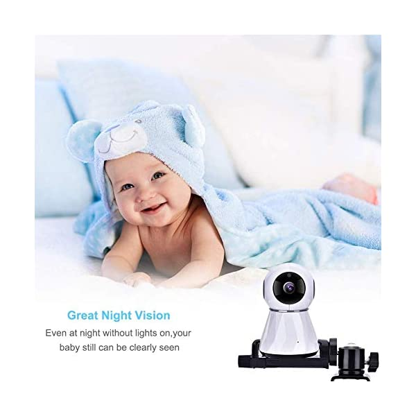 """Eurobuy Baby Camera Monitor Mount, 360 Degrees Rotatable Adjustable Holder, Keep Your Baby in Sight, Suitable for Most Baby Monitors Equipment Eurobuy ☺【Always Keep An Eye On Your Baby】- This upgraded baby camera mount adopts cardan joint and supports 360 degree rotation, helps you take better care of your care. ☺【Compatible With Most Cameras】- With a adjustable mount, suitable for camera bottom diameters from 52mm to 100mm, as well as baby cameras with 1/4"""" threaded or tripod mount. ☺【Protective Guard & Anti-skid Silicone Pad】- Protective guards of clip help to hold the camera more stable and firmly; Soft anti-skid silicone pas to protect your device from scratches. 5"""