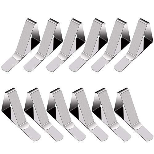 YFMD - Lot de 12 pinces pour nappe ajustables en acier inoxydable