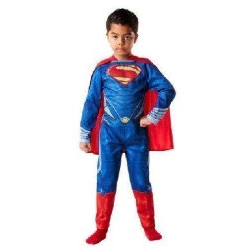 erman Mann aus Stahl büchertag Halloween Kostüm Kleid Outfit 3-10 Jahre - Blau, Blau, 7-8 Years (Superman Halloween Kostüm Für Männer)