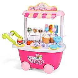 Geyiie Mini Küche Kinder Eiswagen Lebensmittel Trolley Spielzeug mit Sound und Licht Rollenspiel Spielzeug Geschenke Kinder (Rosa) für 2 3 4 5 6 jährige Mädchen Jungen