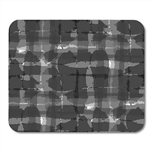 Mauspad, Schwarz Abstraktes Schottenkaro, mit Handkreuzlinien für Bademode, Polstermöbel, rustikales Karomuster, schottisches Mauspad