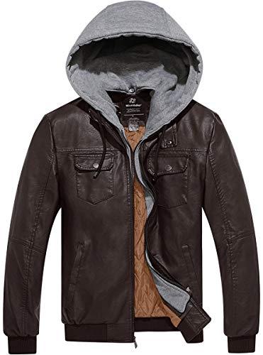 Wantdo Chaqueta de Cuero PU Contraviento con Capucha Extraíble para Hombres Marrón Oscuro XL