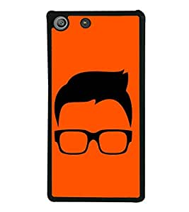 PrintVisa Designer Back Case Cover for Sony Xperia M5 Dual :: Sony Xperia M5 E5633 E5643 E5663 (Glasses and Hair with Orrange Background )