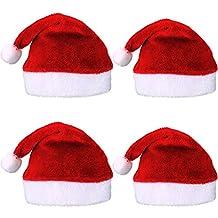04842448d8099 4 Piezas de Gorra de Papá Noel de Navidad Sombrero de Papé Noel de Felpa  Corta