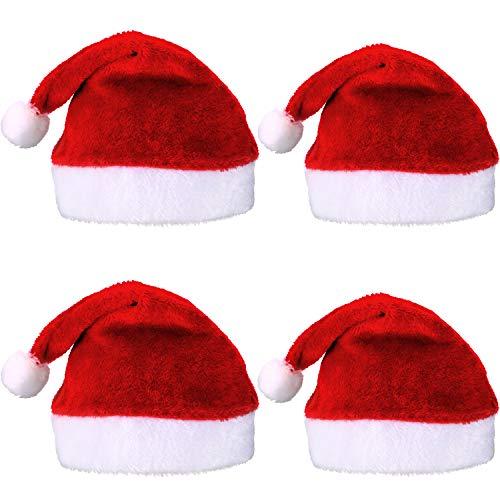 Pangda 4 Pezzi Cappello di Babbo Natale Breve Peluche Cappellini di Babbo  Natale Cappello di Natale 1a8f141e733f