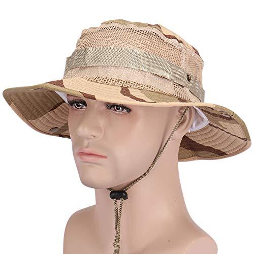 ROUTESUN Herren Jagd Angeln Sun Hat Snap Breite Krempe Bucket Hat mit String, Military Camouflage Boonie Hat, Herren, Insect Mesh, Standard Camouflage Snap