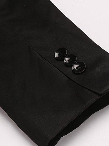 Befied Slim Fit Blazer Casual Elegante Giacca Vestito di Affari Doppio Colletto da S a XXL Nero