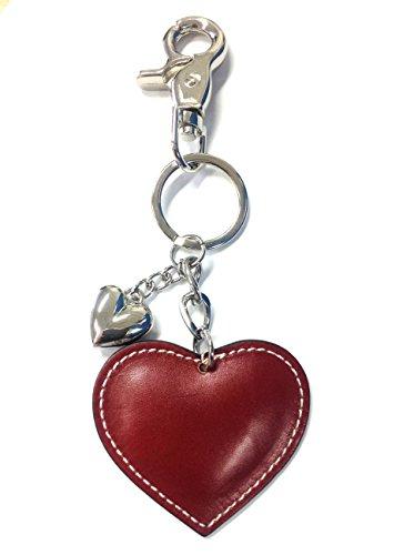 Eleganti a forma di cuore, in vera pelle italiana, colore: rosso o Portachiavi con ciondolo a forma di borsetta