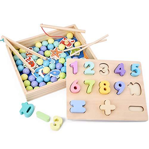 Luccase 3 in 1 Holz Magnetisches Angelspielzeug mit Essstäbchen Perlen Clip Zahlenspielzeug Sortier Spielzeug Schule Lernen Lernspielzeug für Kinder (Schule Clip Art)