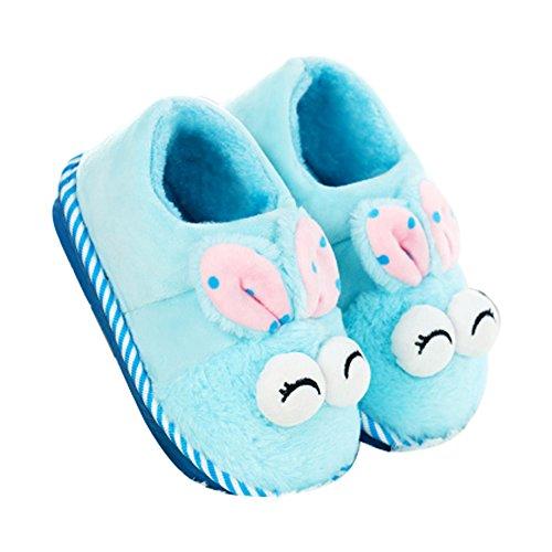 Unisex-Kinder Hausschuhe, Pantoffeln, Winter Indoor Baumwolle Pantoffeln, Wärme Weiche Kuschelige Home Rutschfeste Slippers mit Cartoon Rabbit Hausschuhe für Mädchen und Jungen (32-33, Blau)