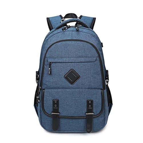 Baisde Zaino Scuola Maschile per Ragazzi Computer Portatile Borse Casual Zaino Viaggio Zainetto con interfaccia USB, Blue