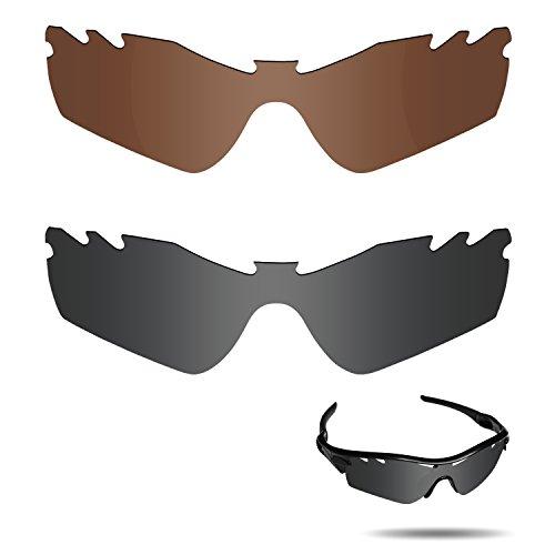 Fiskr Anti-Saltwater Polarisierte Ersatz Gläser für Oakley Radar Path Vented Sonnenbrille 2Paar Verpackt, Stealth Black & Bronze Brown