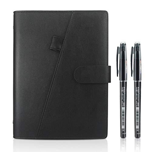 Cuaderno inteligente Reutilizable, Tamaño A5 Borrable Cuaderno Almacenamiento en la nube para Estudiante Arquitecto Periodista Escritor(PU-Negro)