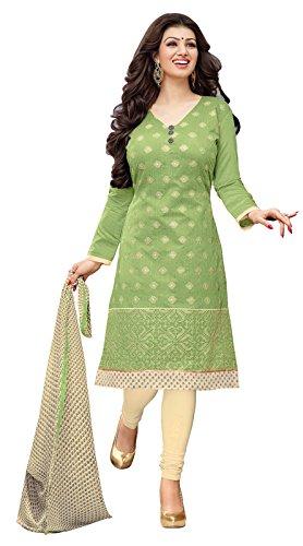 Khushali Presents Chudidar Dress Material(Pista Green,Cream)