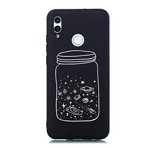 Preisvergleich Produktbild Nadoli Schutzhülle Hülle für Huawei Y7 2019, Cool Kreativ Ultra Dünn Silikon Handyhülle Ultra Dünn Schwarz Weich TPU Bumper Case Backcover mit Muster, Sterne Tasse
