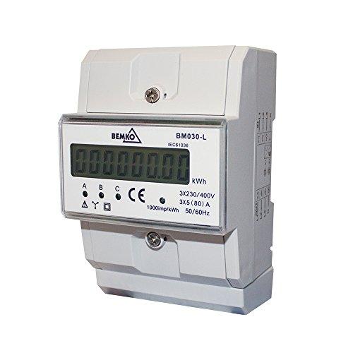 Drehstromzähler Energie-Stromzähler Hutschiene Strommessung , 3-phasig