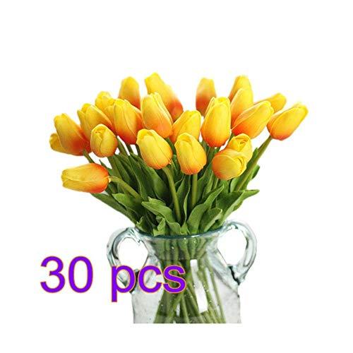 WanTo 30 stücke PU Gefälschte Künstliche Tulpen Flores Artificiales Bouquets Party Real-Touch Künstliche Blumen Für Zuhause Hochzeitsdekoration, 3 (Blume Billige Künstliche Bouquet)