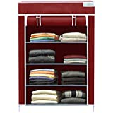 Flipzon Collapsible Wardrobe Organizer, Multipurpose Storage Rack, 4 Layer (Maroon)