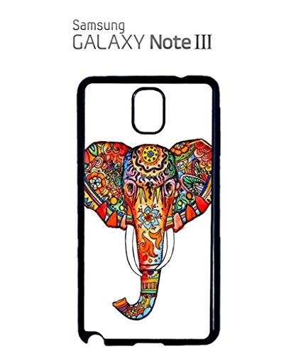 Elephant Ethnic Drawing Colourful Girl Mobile Cell Phone Case Samsung Note 2 Black Blanc