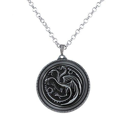 Lureme Spiel der Throne inspiriert Targaryen Anhänger Kostüm Halskette-Antique Silber (nl005378-1) (60's Inspiriert Halloween Kostüme)