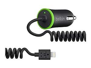 Belkin Chargeur Allume-Cigare 2.1A Noir avec Câble Ligthning pour iPhone 5/5S/5C/SE/6/6Plus/6S/6SPlus/7/7Plus, iPad mini1/2/3/4, iPad 4, iPad Air 1/2, iPad Pro 9,7 et 12,9, iPod Touch 5G, iPod Nano 7G