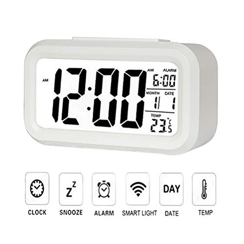 Ourine Reloj Digital Despertador De Cabecera Pantalla Grande Pantalla LED Despertador parael...