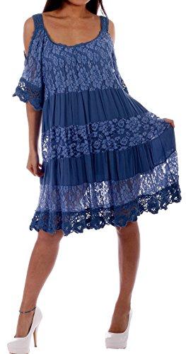 Sommerkleid Romance Strandkleid, Spitzenoptik, Cut Out Ärmel Jeansblau