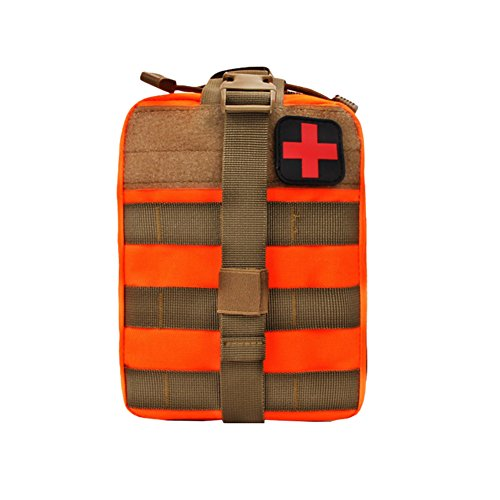 Tracffy Waterproof Tactical MOLLE EMT Medical First Aid Utility Pouch With Cross-Mark Compact Medical Bags 600D for Car Home Hiking Camping - Medical Pouch Molle