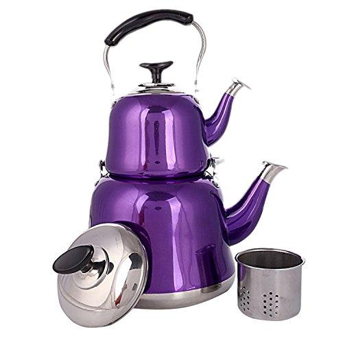 Starline Türkischer Teekocher 3 & 1 Liter Caydanlik mit Sieb Edelstahl LILA Türkische Teekanne Set | Tee & Wasserkocher - Türkische Keramik