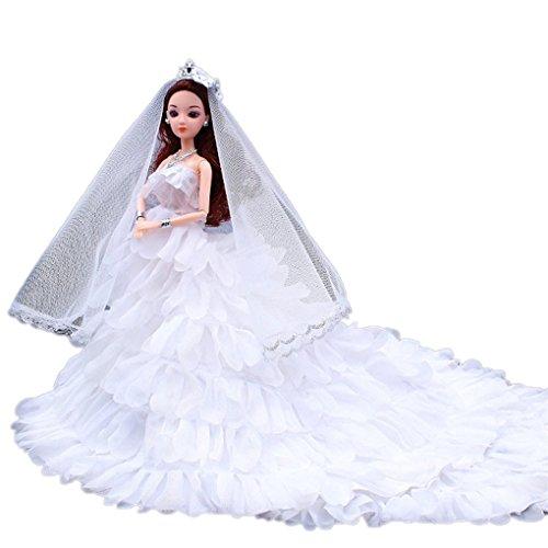 Lernspielzeug Spielzeug für Mädchen DIY Dress Up Rock ärmellose Kleine Puppe Cosplay JYJMSüße Pyjamas Hochzeit Kleid Kleidung Generation American Girl DollPuppe Hochzeitskleid (Höhe 24cm, Weiß)
